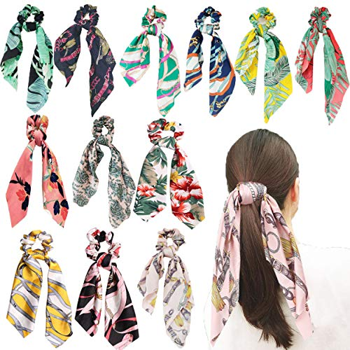 12Pcs Hair Scrunchies Satin Silk Hair Bands Hair Scarves Ponytail Holder Scrunchy Ties 2 in 1 Vintage Hair Accessories Scarf Scrunchie for Women