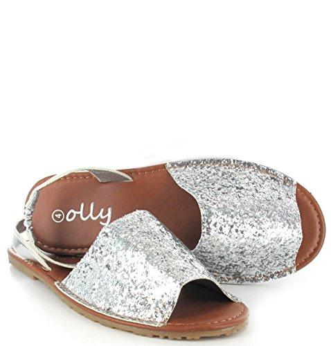 Taille Peep Chaussures Pour Tongs Olly Arrière Sling argentées paillettes Menorcan D'Été Toe Sandales Femmes PXvvnBwH
