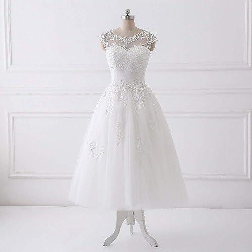 d802081a639 Amazon.com  2019 Lace and Tulle Beach Wedding Dresses Tea Length Bridesmaid  Gowns  Handmade