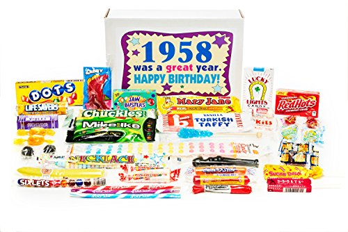Woodstock Candy 1958 60th Birthday Gift Box - Nostalgic Retro Candy Mix from Childhood for 60 Year Old Man or Woman (Birthday Gifts 60th Birthday)