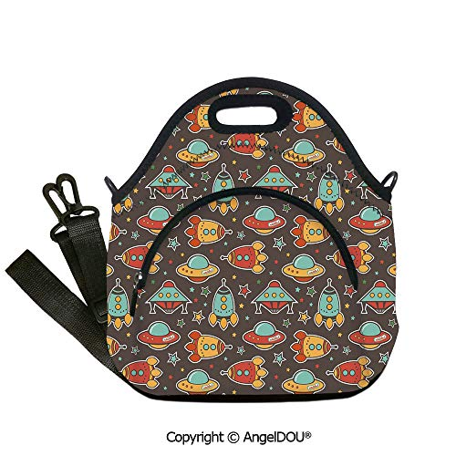 AngelDOU Space Fashion shoulder Neoprene lunch bag Outer Space Elements Rockets UFO and Crafts Stars Heavenly Bodies Funny Alien Cartoon Decorative lunch bag for Employee -