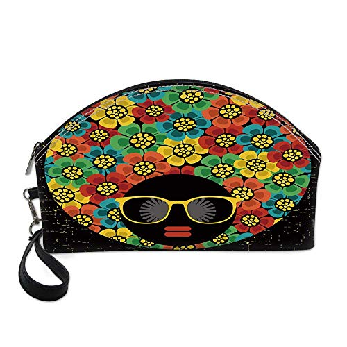 70s Party Decorations Small Portable Cosmetic Bag,Abstract Woman Portrait Hair Style with Flowers Sunglasses Lips Graphic Decorative For Women,One size