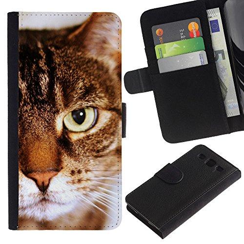 EuroCase - Samsung Galaxy S3 III I9300 - toyger american shorthair cat brown stripes - Cuero PU Delgado caso cubierta Shell Armor Funda Case Cover