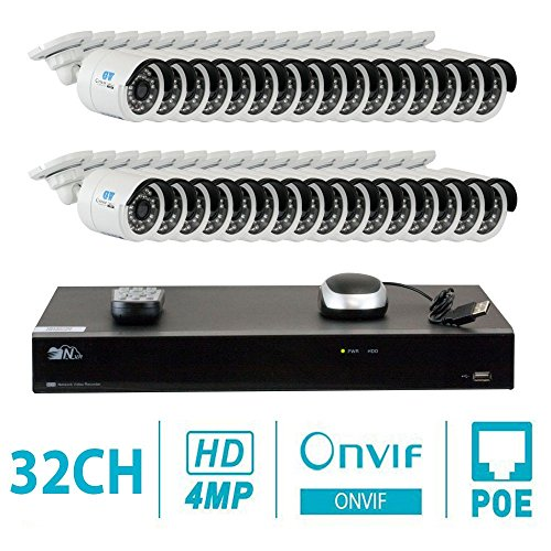 GW 32 Channel H.265 NVR 4-Megapixel (2592 x 1520) Security Camera System, 32pcs 4MP 1520p 3.6mm Wide Angle POE Weatherproof Bullet IP Cameras, 80ft Night Vision