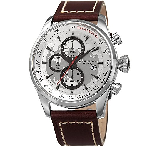 (Akribos XXIV Men's Quartz Silver-Tone Case with White Sunray Dial with Silver-Tone Hands on Brown Genuine Leather Strap AK915SS)
