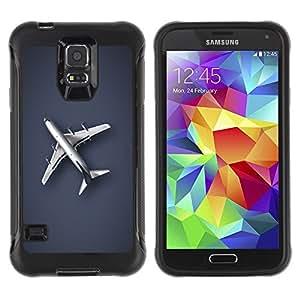 LASTONE PHONE CASE / Suave Silicona Caso Carcasa de Caucho Funda para Samsung Galaxy S5 SM-G900 / Plain Airplane