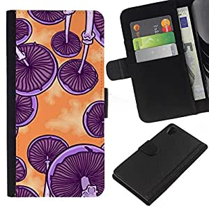 iBinBang / Flip Funda de Cuero Case Cover - Purple Orange Art Psychedelic - Sony Xperia Z2 D6502 D6503 D6543 L50t