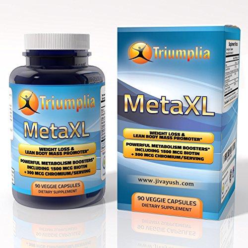 TRIUMPLIA MetaXL Naturel de Perte de Poids de Corps Maigre Supplément avec Boosters Métabolisme de la Biotine Et du Chrome pour les Sains de Sucre dans le Sang de Soutien