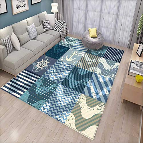 or Floors Marine Theme Wave Patterns in Patchwork Style Boxes Squares Striped Anchor Print Door Mat Indoors Bathroom Mats Non Slip Blue Beige ()