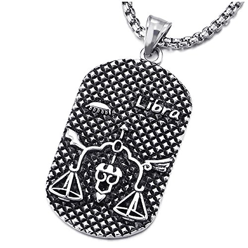 (COOLSTEELANDBEYOND Steel Horoscope Zodiac Signs Libra Dog Tag Pendant Necklace, Twelve Constellations, Mens Women)
