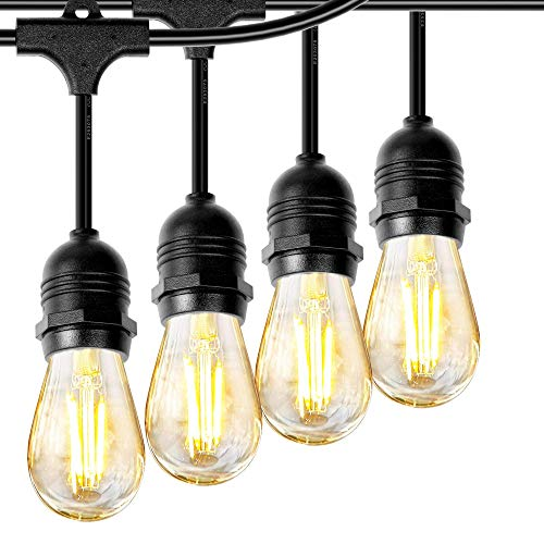 Phiersun LED Edison String Lights 48 Feet Waterproof IP65 Commercial Grade Outdoor String Light UL Listed 24pcs E26 Base Hanging Sockets, 25PCS S14 2W LED Bulbs Warm White 2700K Open-air Party Patio (Bulb With Socket Light String)