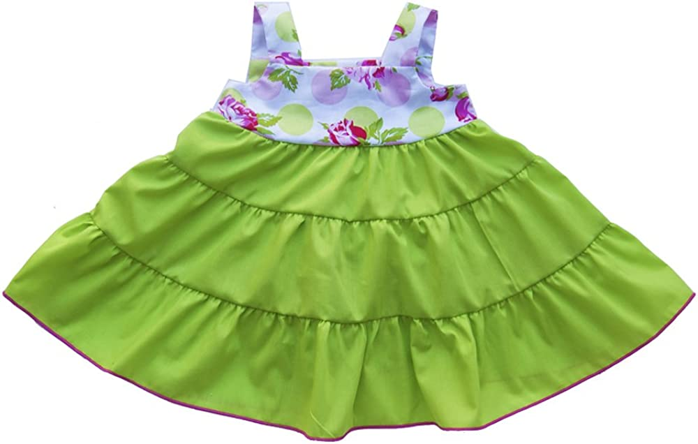 Cheeky Banana Baby//Toddler Girls Babydoll Tiered Dress Lime