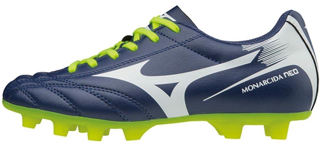 3db528abb02 Mizuno Monarcida Neo Kids MD FG Football Boots - Blue Depths White Safety  Yellow  Amazon.co.uk  Shoes   Bags