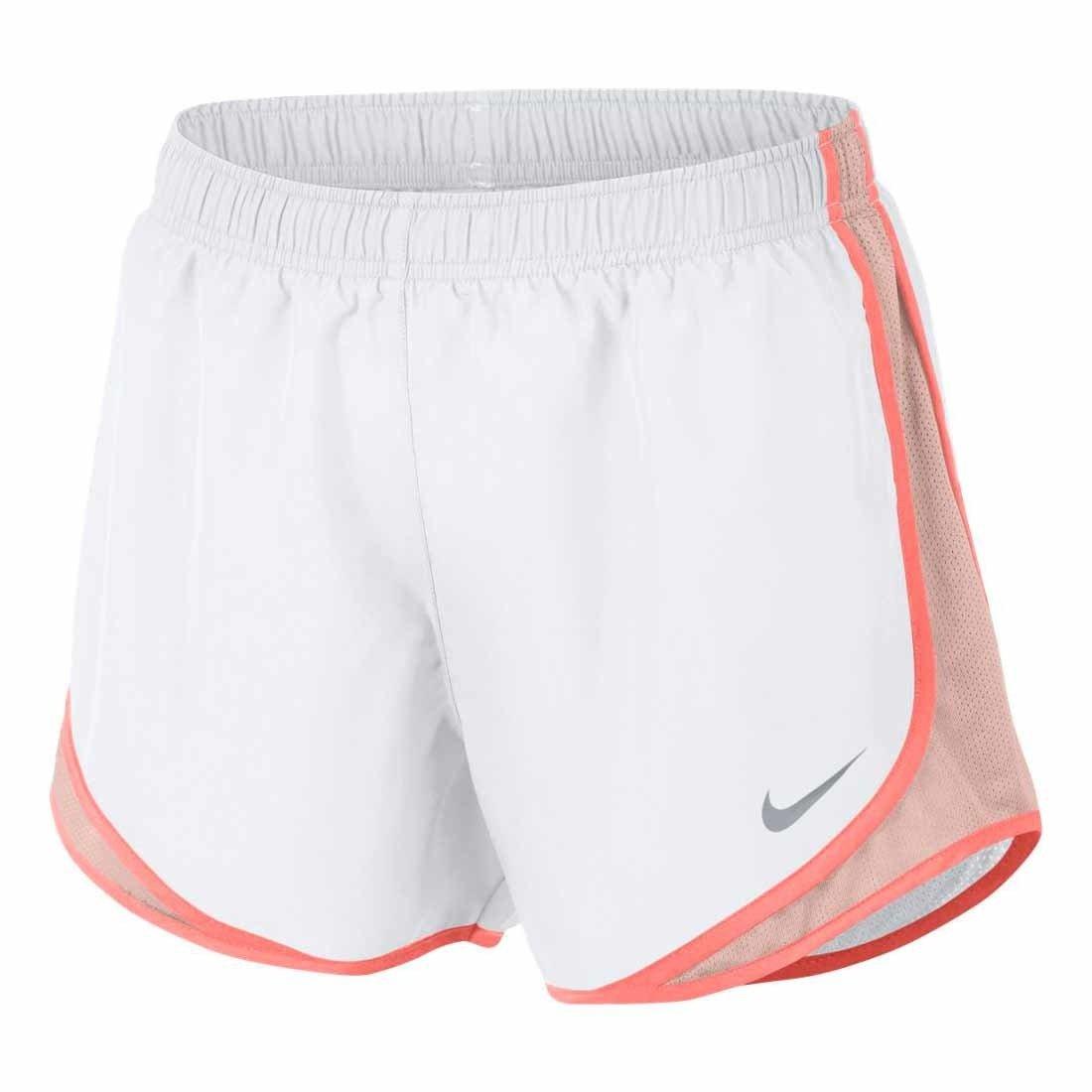 NIKE Womens Running Fitness Shorts (White/Crimson Tint, Small)