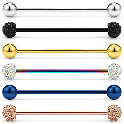 Ruifan 6PCS 14G Mix Color Crystal Ball Stainless Steel Industrial Barbell Earring Cartilage Body Piercing Jewelry 1 1/2 Inch(38mm)