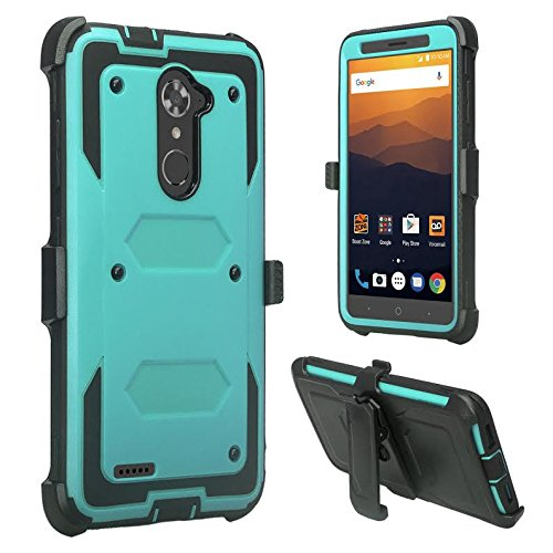 ZTE Blade X Max Case, Zmax Pro Case, Grand X Max 2 Case, ZTE Max Duo LTE Case, SOGA Shockproof Rugged Hybrid Armor Case Cover w/ Belt Clip Holster & Built-in Screen Protector for ZTE Carry - Teal - Lte Grand X Max Cases
