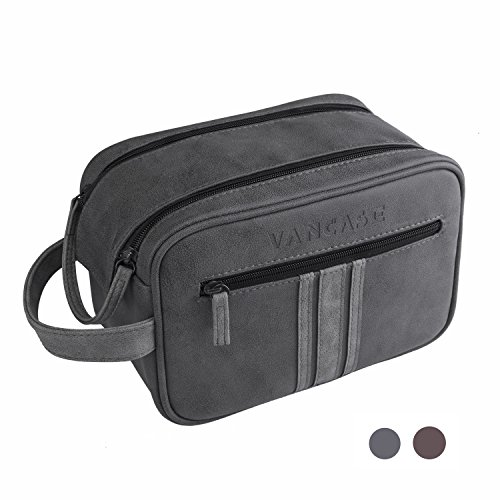 Travel Toiletry Bag for Men, Vancase Vintage Leather Dopp Kit, Large Waterproof Shaving bags, Portable Bathroom Organizer with Connected Zipper Puller (Dark Gray) by VANCASE
