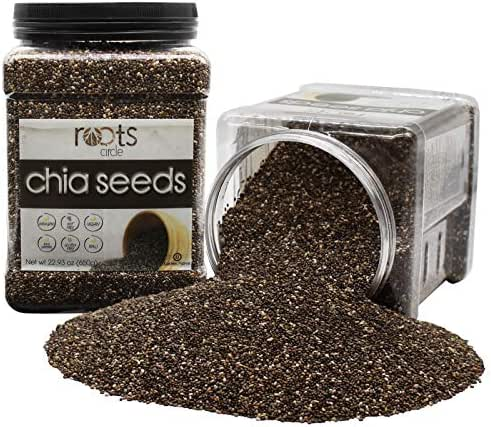 Organic Kosher Bulk Chia Seeds | 2 x 23 = 46 OZ | Vegan, Raw, Non-GMO, Superfood | Excellent Source of Omega 3 and Protein | Gluten-Free, Nut-Free | For Salads, Smoothies, Acai Bowls by Roots Circle