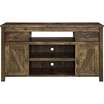 Industrial TV Stand - Rustic Vintage Look Entertainment Center with Sliding Doors for TVs up to 60''