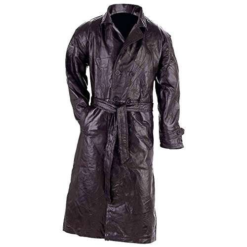 Giovanni Navarre Italian Stone Design Genuine Leather Trench Coat - Size 3XL