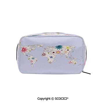 e547b037d832 Rectangle Portable makeup organizer Cosmetic Bags Retro Style Map ...