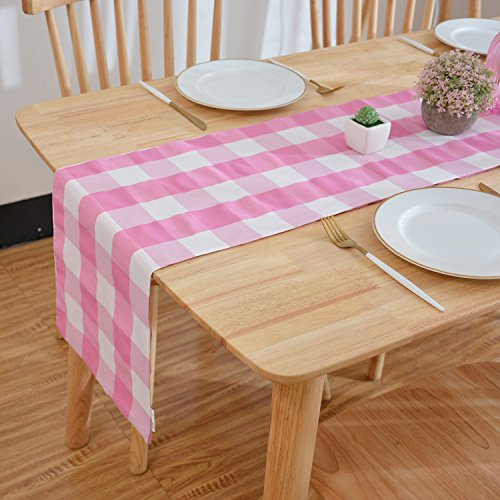 NATUS WEAVER 2 Side Pink & White Buffalo Check Table Runner for Family Dinners or Gatherings, Indoor or Outdoor Parties, Everyday Use (12 x 72, Seats 4-6 People)