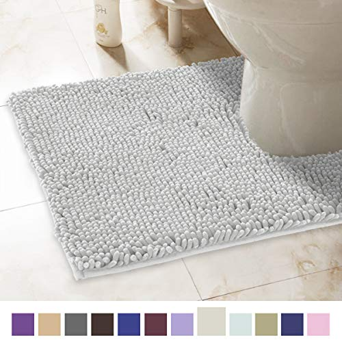 ITSOFT Non-Slip Shaggy Chenille Soft Microfibers Toilet Contour Bathroom Rug with Water Absorbent, Machine Washable, 21 x 24 Inch U-Shaped Light ()