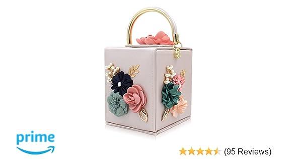 5068d8ab787a Milisente Women Clutches Flower Clutch Bag Box Clutch Purse Evening Handbag  (Beige)  Handbags  Amazon.com
