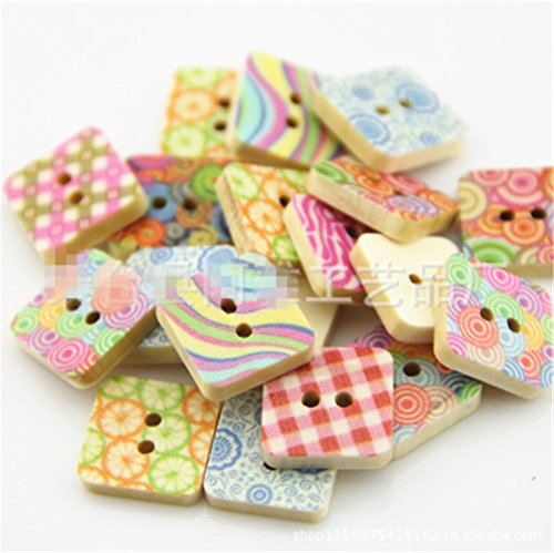 Blanche Lynn Square Shape Colorful Patterns Buttons Bakelite Buttons 2 Hole Bakelite Buttons DIY Elements Mixed Buttons for Sewing and Crafting( Pack of 50 Pcs), Organza Bag As a Gift
