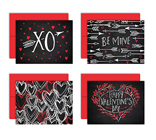 Chalk Art Love Notes - Set of 8 Valentine's Note Cards + Red Envelopes - 4 Unique Designs - By Palmer Street Press