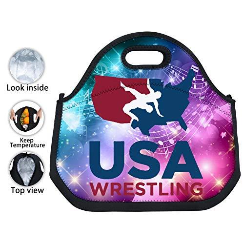 (YPOHG American Wrestling Printed Insulated Lunch Bag, Neoprene Lunch Bags for Women Kids Girls Men Teen Boys, Picnic School Travel Work Tin Foil Tote Bag)