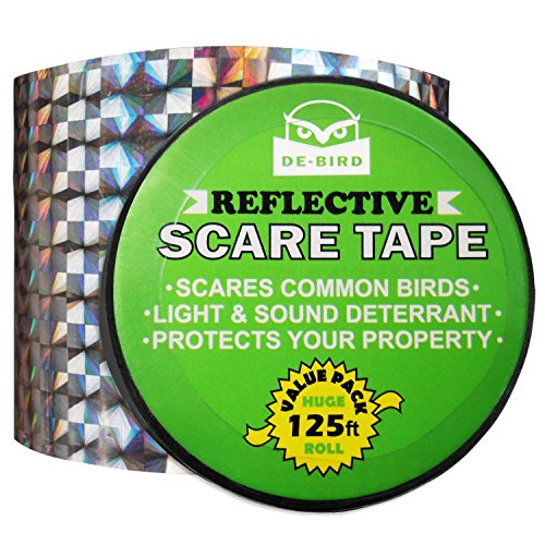 Scare Birds Away - Bird Repellent Scare Tape- Simple Control Device to Keep Away Woodpeckers, Pigeons, Grackles and More. Deterrent Works Great With Netting And Spikes. Stops Damage, Roosting and Mess.