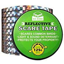 Bird Repellent Scare Tape - Keep Birds Away To Prevent Property Damage - Strong, Highly Reflective Double Sided Ribbon - Safe & Effective Deterrent Against Woodpeckers, Pigeons, Grackles and More