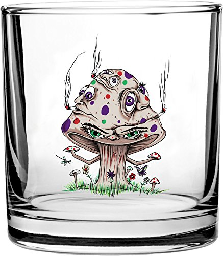High Mushroom Funny Shroom Smoking Joint Cartoon - 3D Color Printed Scotch Whiskey Glass 10.5 oz (3d Printed Glasses)