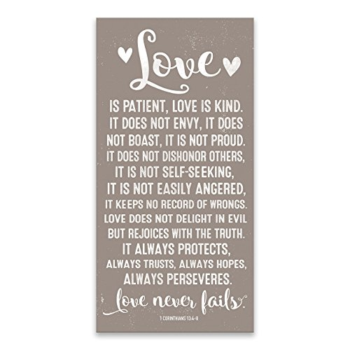 Price comparison product image Love Never Fails 1 Corinthians 13:4-8 Typography Printed Canvas 16W x 32H x 1.5D