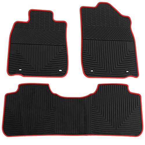 biosp Car Floor Mats for Lexus ES350 2013-2018 Front And Rear Heavy Duty Rubber Liner Set Black Red Vehicle Carpet Custom Fit-All Weather Guard Odorless