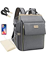 Diaper Bag Backpack Waterproof Travel Back Pack Multifunction Maternity Baby Bags Large Capacity Nappy Bags with Changing Pad, Insulated Pocket, USB Charging Port, Stroller Straps