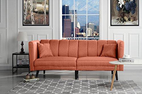 Sofamania Mid Century Modern Plush Tufted Linen Fabric Living Room Sleeper Futon (Orange)