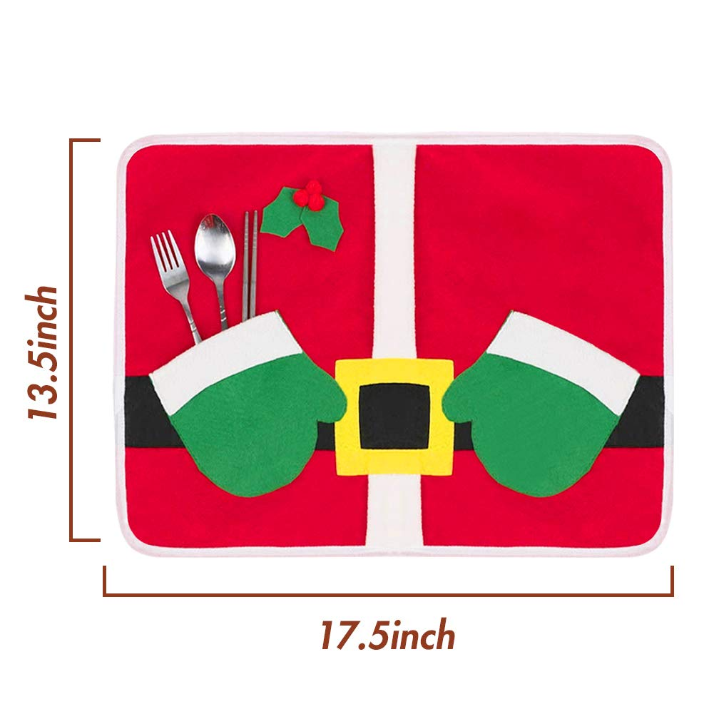 HansGo Christmas Placemats Set, 2PCS Christmas Coasters Placemats Winter Holiday Placemat