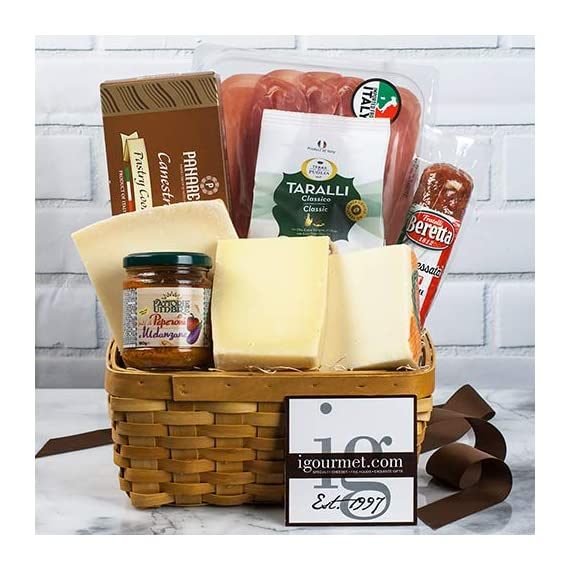 Italian Classic Gift Basket (3.4 pound) 1 Ships expedited in an insulated package to ensure freshness All igourmet.com Gift Baskets are filled with only premium quality items you will be proud to give A stunning array of cheeses, olive oil, Balsamic vinegar and more