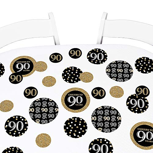 Big Dot of Happiness Adult 90th Birthday - Gold - Birthday Party Giant Circle Confetti - Party Decorations - Large Confetti 27 Count