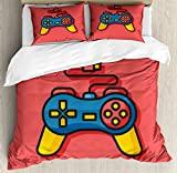 Gamer Queen Size Duvet Cover Set by Lunarable, Old School Colorful Videogame Controller with Minimalist Style D-Pad and Triggers, Decorative 3 Piece Bedding Set with 2 Pillow Shams, Multicolor