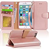 Arae Iphone 6s Case, iphone 6 case, Apple Iphone 6/6s [Wrist Strap] Flip Folio [Kickstand Feature] PU leather wallet case with ID&Credit Card Pockets (rosegold)