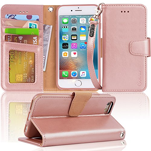 Arae Case for iPhone 6s / iPhone 6, Premium PU Leather Wallet case [Wrist Strap] Flip Folio [Kickstand Feature] with ID&Credit Card Pockets for iPhone 6s / 6 4.7 inch (Rosegold)