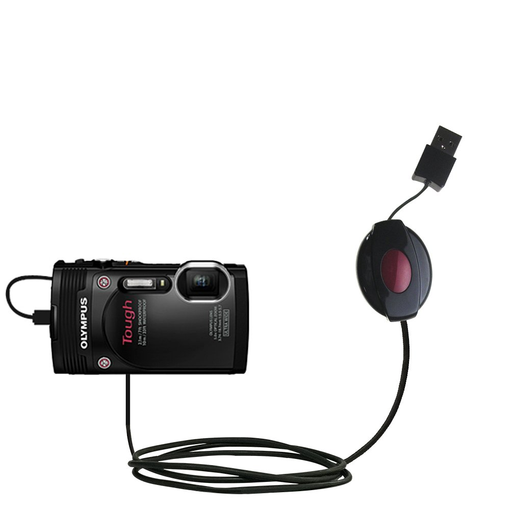 Compact and retractable USB Power Port Ready charge cable designed for the Olympus Tough TG-850 and uses TipExchange