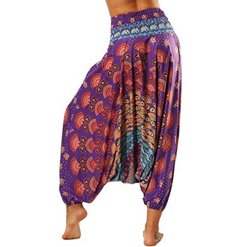Beach Cavallo Stampa Fan Harem Alta Aladin Viola Yoga Boho Baggy Pants Vita Basso Pantaloni Stile Estivi Thai Nuofengkudu Palazzo Vintage qtxH7EwT