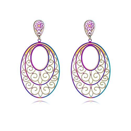 Life Tree Teardrop Pattern Drop Earrings Light Weight dangel Earrings for Women and Girls (Oval)