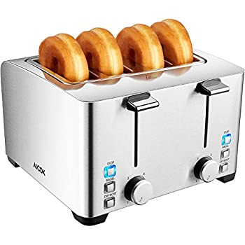 Aicok 4-Slice Toaster, Brushed Stainless Steel Toaster, Extra Wide Slot Fit Bagel, 6 Toast Shade Setting and Defrost Function, 1500W, Silver