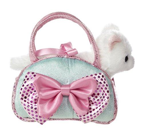 Aurora World Fancy Pals Toy Pet Carrier Plush Purse, Blue Bows ()