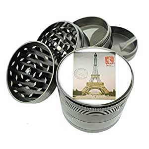 """Titanium 4 PC Magnetic Grinder 2.1"""" Hand Mueller D-030 Eiffel Tower Paris Postcard Decorative Decoupage Vintage Style"""
